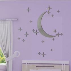 Sticker Miroir - Lune et 20 étoiles