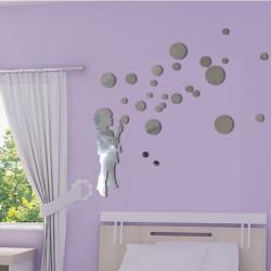 Sticker Miroir - Silhouette Enfant qui souffle des bulles