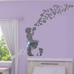 Sticker Miroir - Silhouette Fillette souffle des bulles