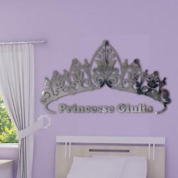Sticker Miroir - Couronne de Princesse + prénom