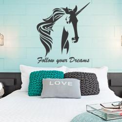Sticker Licorne Follow your Dreams