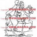 Sticker Blanche Neige sur cheval