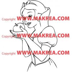 Sticker Blanche Neige et la pomme