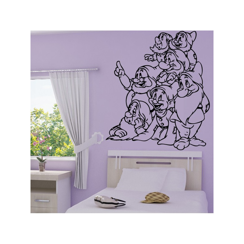 Sticker Blanche Neige - les 7 nains