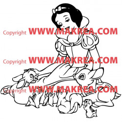 Sticker Blanche Neige et ses amis