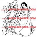 Sticker Blanche Neige et nains