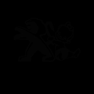 Bébé à Bord - Fillette tient logo Peugeot