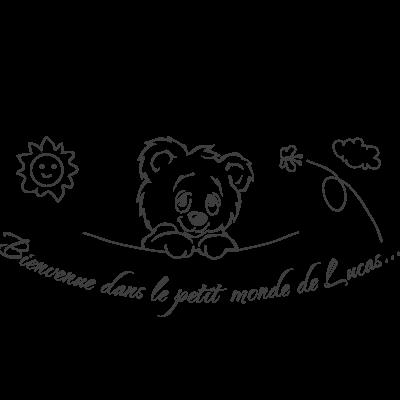 """Sticker Tête Ourson """"Bienvenue dans le petit monde de Chrys..."""""""