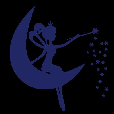 Fée sur la lune & baguette magique