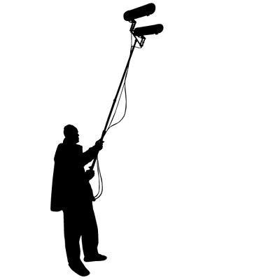 Sticker Cinema - Silhouette Preneur de son Grande Perche