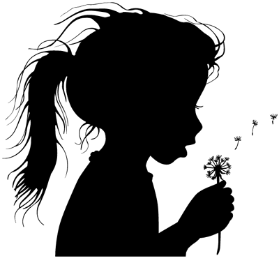 Sticker Fillette qui souffle Fleur Pissenlit