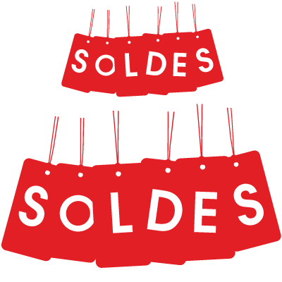 "Sticker vitrine ""SOLDES"" lot étiquettes suspendues"